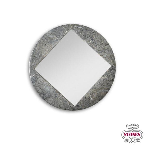 nome Specchio: Round Fossil colore cornice: grigio