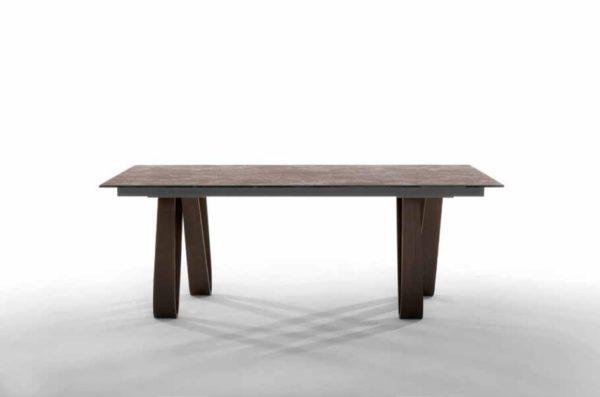 Tavoli fissi con gambe in legno curvato con piano rettangolare - Butterfly