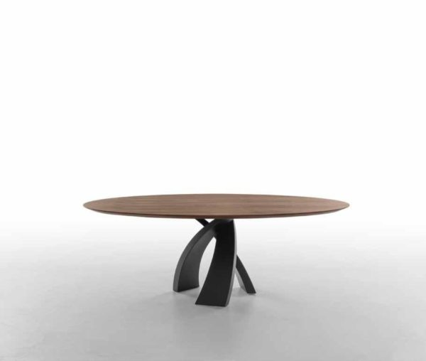 Tavolo rotondo fisso con base in metallo laccato - Eliseo