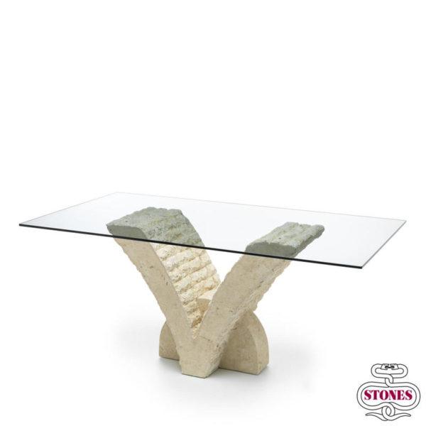 tavolo fisso nome: papillon pranzo piano in vetro